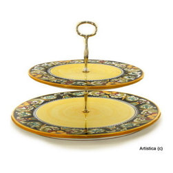 Artistica - Hand Made in Italy - DERUTA VARIO: Two Tier Tid-Bit Tray - Artistica's EXCLUSIVE!