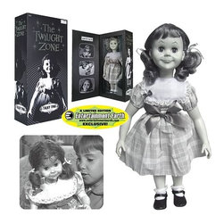 KOOLEKOO - The Twilight Zone Talky Tina Doll Case - Talky Tina is back again... to stay! This authentically reproduced black-and-white Talky Tina Doll Replica from The Twilight Zone is a lifelike replica that stands 18-inches tall and features rotocast Vinyl head, arms, and legs; soft fabric body and fabric clothing; rooted hair; eyelids that open and close; and a talking mechanism. Don't miss this Talky Tina Doll!