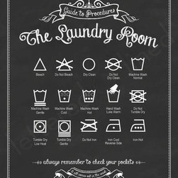 Guide to Procedures: The Laundry Room by Lettered & Lined - This Etsy shop offers a variety of colors for this fun laundry room print, but my favorite is the black because it has the look of chalkboard art.