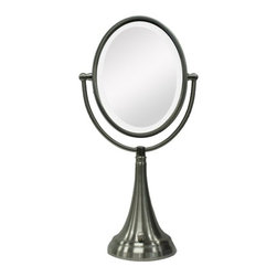 "Zadro - Oval Vanity Mirror with LED Surround Light in Satin Nickel - The LED Lighted Oval Vanity Mirror features a dual-sided, premium quality mirror with two magnifications. On one side, a 10x magnification mirror allows you to see up-close and in detail, allowing for easy make-up application. The other side features a normal, 1x magnification mirror that is great for checking hair and make-up. The vanity mirror lights up with energy-saving LED bulbs that illuminate your entire face, allowing you to see the finest details in even the dimmest lighting, and its cordless design allows you to place it anywhere! The LED Lighted Oval Vanity Mirror is available in an elegant Satin Nickel finish. Features: -Vanity mirror. -Satin nickel finish. -Dual sided LED lighted mirror. -360 Degree Swivel Mirror. -10x - 1x Magnification. -Energy saving LED lighting consumes up to 70% less electricity than regular bulbs. -Lifetime Eco-Friendly LED Bulbs Never Need Replacing. -Oval shape. -Operates on 4 ""C"" batteries or AC adapter (included). -Manufacturer provides 90 days warranty. Specifications: -Mirror surface dimensions: 7.5"" Height x 5.5"" Width. -Overall Dimensions: 19"" Height x 9.5"" Width x 5.5"" Depth."