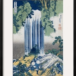 Artcom - The Yoro Falls in Mino Province, from the Series A Journey to the Waterfalls of - The Yoro Falls in Mino Province, from the Series A Journey to the Waterfalls of All the Provinces by Katsushika Hokusai is a Framed Giclee Print set with a CHELSEA Black wood frame and a Crisp - Bright White mat.