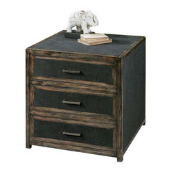 Uttermost Draven Black Accent Chest - Open grained pine chest with black glaze and chestnut undertones, inset with dark obsidian woven fabric.  Tarnished silver bar pulls accent three dovetail drawers. Open grained pine chest with black glaze and chestnut undertones, inset with dark obsidian woven fabric. Tarnished silver bar pulls accent the three dovetail drawers.