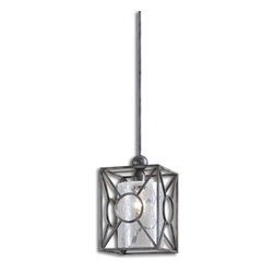 Uttermost - Arbela 1-Light Mini Pendant - Mini me. Although it may be small in stature, this mini pendant is big on style. It has a geometrically pleasing frame with a crackled glass cylinder shade inside. Use it to add a dash of style to your foyer, or hang a few over your kitchen island or bar for a added impact.