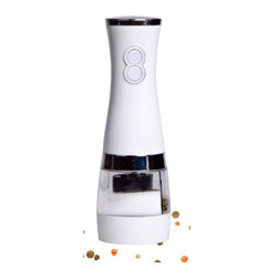 HomeStart - HomeStart 2 in 1 Electric Salt & Pepper Grinder Polished White - This Grinder is great for preparing and serving meals. Fill it with your favorite Sea Salt or Peppercorns and season your meal with just one hand. Press the appropriate button to get salt or pepper without any strain. HomeStart Products are made with you in mind. Lefties can use it, Righties can use it, young or old. Elegant Modern Design will match your kitchen and give it a special glow.