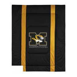 Sports Coverage - Missouri Tigers Bedding - NCAA Sidelines Comforter - Twin - Show your team spirit with this great looking officially licensed Missouri Tigers comforter which comes in new design with sidelines. This comforter is made from 100% Polyester Jersey Mesh - just like what the players wear. The fill is 100% Polyester batting for warmth and comfort. Featuring authentic Missouri Tigers team colors, each comforter has the authentic Missouri Tigers logo screen printed in the center. Soft but durable. Machine washable in cold water. Tumble dry in low heat. Covers are 100% Polyester Jersey top side and Poly/Cotton bottom side. Each comforter has the team logo centered on solid background in team colors. 5.5 oz. Bonded polyester batts. Looks and feels like a real jersey!