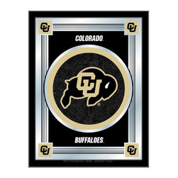 "Holland Bar Stool - Holland Bar Stool Colorado Logo Mirror - Colorado Logo Mirror belongs to College Collection by Holland Bar Stool The perfect way to show your school pride, our logo mirror displays your school's symbols with a style that fits any setting.  With it's simple but elegant design, colors burst through the 1/8"" thick glass and are highlighted by the mirrored accents.  Framed with a black, 1 1/4 wrapped wood frame with saw tooth hangers, this 17""(W) x 22""(H) mirror is ideal for your office, garage, or any room of the house.  Whether purchasing as a gift for a recent grad, sports superfan, or for yourself, you can take satisfaction knowing you're buying a mirror that is proudly Made in the USA by Holland Bar Stool Company, Holland, MI.   Mirror (1)"