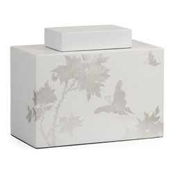 iMax - iMax Meshaw Small Lidded Jar X-51023 - A brilliant white lacquered finish with a delicate silver leaf floral pattern give the Mershaw lidded jar an elegant yet bold presence.