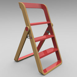Step - Modern, sleek, and subtle, this stepladder and stool is designed by the Seattle-based husband and wife team at Object Creative. This stepladder's design is meant to focus its use outside of the closet. Its bold construction of lacquered maple makes it a piece you automatically want to show off.