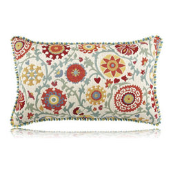 Elaine Smith - suzanie floral lumbar pillow (12x20) - Performance pillows from renowned textile designer Elaine Smith® feature unique fabrics that are both soft and stylish, rich in color, lavish in detail, and impervious to the elements.