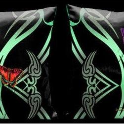 Lama Kasso - Butterflies Art Deco Butterflies on Black 18 x 18 Satin Pillow - -Satin Lama Kasso - 12