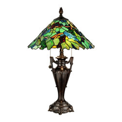 "Dale Tiffany - Dale Tiffany TT12367 Traditional Tiffany Table Lamp - Reminiscent of an old world vineyard, our Grape Tree table lamp brings all the charm of sunny Tuscany to your home. Green and yellow art glass leaves combine with brown branches for an authentic tree feel. Jeweled ""grapes"" in red, blue and green have been placed throughout the shade, so realistic that you will want to reach out and pluck them right off the vine. The metal base is intricately cast with fine detail work around the footed pedestal and two arms resembling a trophy. Both base and matching finial are finished in burnished antique bronze. Perfect in pairs on matching end tables or on a larger nightstand, the Grape Tree table lamp is an ideal way to bring the great outdoors inside in a beautiful way."