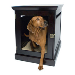 DenHaus - TownHaus Espresso Pet Den, Espresso, Large - - Only the TownHaus is a superbly sturdy piece of furniture on the outside and the cozy space your dog craves on the inside. - Features a uniquely designed door with removable grate; so you can allow your pets to come and go freely, or safely secure them. - *Good to know: Best suited for dogs that are crate trained and not prone to destructive chewing. - The finish is non-toxic and free of mercury, lead, cadmium and chromium.- Weight: 107 lbs.