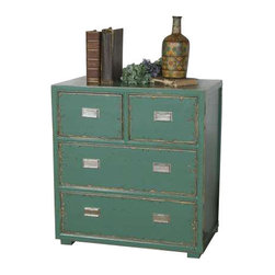 Uttermost Aquias Hand-Painted Accent Chest - Hand painted, solid fir wood in distressed aqua finish accented by brushed steel pulls on four dovetail drawers. Hand painted, solid fir wood in distressed aqua finish accented by brushed steel pulls on four dovetail drawers.