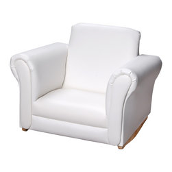 Gift Mark - Gift Mark Home Kids Children Adult Upholstered Rocking Chair White - The Gift Mark White Upholstered Rocking Chair is certain to become your child's first choice in seating. Offering a thick and very soft seat, these extremely comfortable child's rocking chair has the look of a sophisticated adult chair , in a child's size rocking chair. Ages 3 and up.