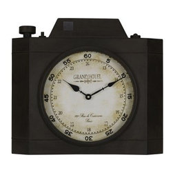 Cooper Classics Valerian Wall Clock - 16.25 in. Wide - With its unique camera-shaped frame and weathered, Paris-themed face, the Cooper Classics Valerian Wall Clock is a lot more fun than your average analog clock. Constructed from durable metal, this large wall accent features an aged black frame finish and artfully weathered face.About Cooper ClassicsCooper Classics was founded over 50 years ago and is currently operated by the third generation of the Cooper family. Their production and warehousing facilities are located in the Blue Ridge Mountains of Virginia, where they produce uniquely styled mirrors and accessory furniture. Because of their extensive background in wood product manufacturing, they excel in the design and production of solid wood mirror frames and furniture. Cooper's commitment to their customers is to provide products with outstanding quality and styling while maintaining a competitive price.