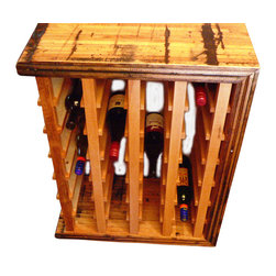 Circle Goods Reclaimed - Boxcar Wine Rack - As the saying goes, old wine and old friends are the best. So, doesn't it make sense to store your collection in an old wine rack? This one is made of boxcar flooring from a historic Colorado Kodak factory — how cool is that? Is smooth to the touch, but retains all its original beaten and charred character, with enough room to hold 28 of your favorites.