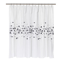 "Extra Wide ""Dots"" Fabric Shower Curtain - ""Dots"" Extra wide 100% polyester fabric shower curtain, size 108"" wide x 72"" long. Give your bathroom an welcome boost of energy with our Extra Wide ""Dots"" Shower Curtain. Specially designed to fit a corner or extra large bathtub (108'' wide x 72'' long), ""Dots"" is 100% polyester, machine washable, and water resistant.   Machine wash in warm water, tumble dry, low, light iron as needed"