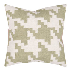 "Surya - Surya Pillow Kit Poly Fiber Cloud Cream 20"" x 20"" Accent Pillow - Always in style, this pillow is accented by a houndstooth pattern. Colors of antique white and khaki green give it a soft touch. This pillow contains a poly fill and a zipper closure. Add this 2"" x 2"" pillow to your collection today."