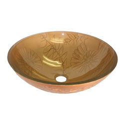 Flotera Autumn Daisy Tempered Glass Vessel Sink - This beautiful tempered glass bathroom sink is the perfect mix of modern design and traditional style A floral pattern of leaves and swirls plays across the bowl of this daisy vessel sink. Put together a beautiful bathroom decor starting with this tempered glass bathroom sink.