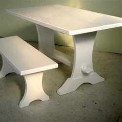 White Trestle Plank Bench From Reclaimed Barn Wood - Made by http://www.ecustomfinishes.com
