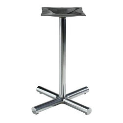 "MTS Seating - 1500 Series 22 in. w 2 in. Column Table Base (Cool White) - Finish: Cool White. Give no thought to leaving your  ice sculptures on a table top anchored to this rigorously constructed and designed 22""x22"", 2"" column table base featuring switch able glides, accessible in a variety of splendid, polished chrome & powdercoats. * Pictured in polished chrome finish. Adjustable Glides - Threaded for manual adjustment. Base: 22 in. x 22 in.. Column: 2 in.. Mounting Plate: 16 in. x16 in.. Wgt: 25 lbs.. Recommended top size: 24 in. - 30 in."