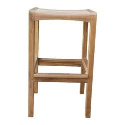 Classic Teak - Teak Bar Stool - A backless teak bar stool - perfect! It works on its own, or beside your teak or built in bar. We make the same stool counter height.