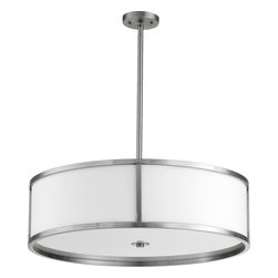Quorum Lighting - Quorum Lighting Omega Modern / Contemporary Drum Pendant Light X-56-43-0028 - This Omega Contemporary pendant light has a 34.5 inch drum shade aligned with a satin nickel border on both top and bottom. The white acrylic shade gives a muted light illumination that is suitable for a variety of contemporary interior designs.