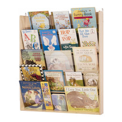 """Whitneybrothers - Whitney Brothers Home Kids Children Wall Mounted Book Display - When space is a premium, keep books and periodicals in reach with this five-shelf wall-mount bookshelf. Clear plexiglass holders make the books easier to see.Dimension: 34"""" wide x37"""" high x7"""" deep. 25 lbs. Wall mounting hardware not included.  Made in USA. GreenGuard Certified. Lifetime Warranty."""