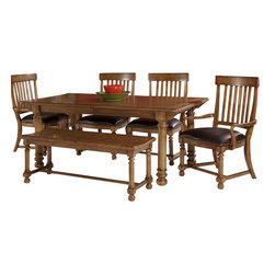 American Drew - American Drew Americana Home 7 Piece Dining Room Set in Warm Oak - Americana Home is a casual, life style grouping with an eclectic mix of design elements and materials. This collection is truly inspired by American and iconic destinations from coast to coast. Americana Home captures design elements from country, lodge, cottage, coastal and even more urban loft/industrial looks. This unique collection brings a sense of timeless and comfortable places that span from the coast to the mountains of America. The Neutral pallet offered by the simplistic styling and casual finish allow this collection to take own many design trends and consumer's personal flavor. Americana Home will be at home in almost any setting.