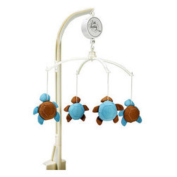Turtle Tales Musical Mobile - Mesmerize baby with this cute blue and brown crib mobile. The musical mobile features four plush turtles. It's available at a great price!