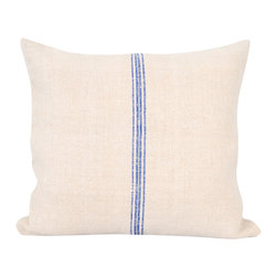 Antique Linen Pillow - Blue Stripe - Handmade from antique European grain sacks, the fabric in these gorgeous pillows is handwoven and handloomed hemp linen that was made around 1880 -1900. Gorgeous blue stripes on a sandy cream colored linen. Every grain sack is unique in texture, color, and stripes depending on the factory it comes from. Linen is 100 % biological, organic, and completely free from chemical substances.
