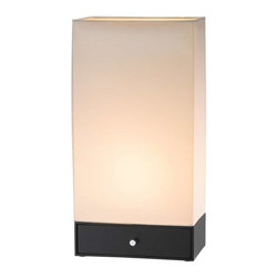 Adesso - Adesso Parker Table Lantern - Rectangular shaped table lantern has a storage drawer built into its base. Off-white rectangular shade. Line switch. 60 Watt incandescent or 13 Watt CFL bulb. 20 in Height, 10.25 in Width, 6.25 in Depth. Drawer: 2.25 in Height )inside dimensions: 9 in Width, 5.5 in Depth). Shade: 17 in Height: base: 3 in Height.