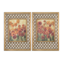 Uttermost - Contemporary and Modern Ranunculi Field Framed Art Set of 2 Home Decor - These colorful oil reproductions feature a hand applied brushstroke finish. Frames have a gold leaf finish with a light antique stain. The decorative center portions of the frames are made of laser cut wood.