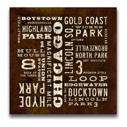 Transit Design - Chicago Art Sign. Chicago Neighborhoods, 24 X 24 - Popular Chicago Neighborhoods are featured on this industrial rustic canvas sign with aged type. Warm vintage style with distressed background. Perfect for your loft or office.