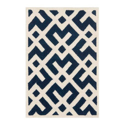 Safavieh - Nadine Hand Tufted Rug, Dark Blue / Ivory 2' X 3' - Construction Method: Hand Tufted. Country of Origin: India. Care Instructions: Vacuum Regularly To Prevent Dust And Crumbs From Settling Into The Roots Of The Fibers. Avoid Direct And Continuous Exposure To Sunlight. Use Rug Protectors Under The Legs Of Heavy Furniture To Avoid Flattening Piles. Do Not Pull Loose Ends; Clip Them With Scissors To Remove. Turn Carpet Occasionally To Equalize Wear. Remove Spills Immediately. A timeless quatrefoil motif makes a global design statement in the subtle but sophisticated Desai area rug. These stunning hand-tufted wool rugs are crafted in India to recreate the elegant look of hand-knotted carpets for today's lifestyle interiors.