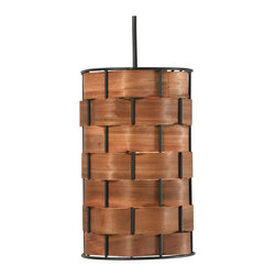 Kenroy - Kenroy 92045DWW Shaker 1 Light Mini Pendant - A chunky basket weave with a rich wood grained glow form this stunningly simple and elegant drum pendant. Delicate real wood strips thread around a sturdy metal frame.