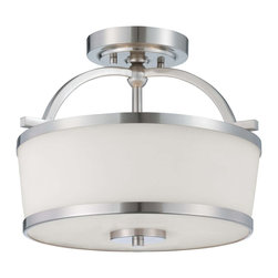 Savoy House - Savoy House Hagen Semi-Flush Mount Ceiling Fixture in Satin Nickel - Shown in picture: The Hagen family offers sleek - streamlined style that is modern and classic. This group has a timeless appeal with a lustrous Satin Nickel finish and soft white etched glass.
