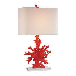 Dimond Lighting - Red Coral 1-Light Table Lamp in Red Coral - Dimond Lighting D2493 Red Coral 1-Light Table Lamp in Red Coral. Red coral table lamp.