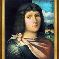 "il Palma Jacopo-18""x24"" Framed Canvas - 18"" x 24"" il Palma Jacopo Portrait of a Young Man framed premium canvas print reproduced to meet museum quality standards. Our museum quality canvas prints are produced using high-precision print technology for a more accurate reproduction printed on high quality canvas with fade-resistant, archival inks. Our progressive business model allows us to offer works of art to you at the best wholesale pricing, significantly less than art gallery prices, affordable to all. This artwork is hand stretched onto wooden stretcher bars, then mounted into our 3"" wide gold finish frame with black panel by one of our expert framers. Our framed canvas print comes with hardware, ready to hang on your wall.  We present a comprehensive collection of exceptional canvas art reproductions by il Palma Jacopo."