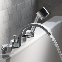 Rem Tub Filler - Impeccable design. Flawless form and function.• European minimalist design• Cast brass spout and valves• Ceramic disc valve cartridges• Multifunction hand shower with 5 ft. (1.5m) metal hose• Maximum Hand Shower Flow Rate: 2.5 GPM (9.5L/min)