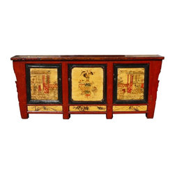 Golden Lotus - Chinese Mongolian Antique Hand Painting Long Buffet Table - This huge antiques Mongolian style buffet table which is made of elm wood.  The front of table still keeps original painting in good condition. The inside of table have three big space and offer you a lot of space for storage.  It's very unique piece as a display table and TV stand cabinet in the living room. The beautiful outlook brings characters decor into your house.