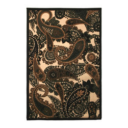 Mohawk Home - Beige Indoor/Outdoor Floral Area Rug (5' x 8') - Decorate any room in the house with these flower print rugs. These rugs display a unique design with paisley details. Their gorgeous black and gold coloring complements similar schemes. They are also great accents to furnishing styles.