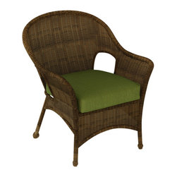 Forever Patio - Rockport Traditional Patio Lounge Chair, Canvas Parrot Cushions - Expand your outdoor seating with the classic-looking Rockport Lounge Chair (SKU FP-ROC-C-CN-CP). Its UV-protected Chestnut wicker and round-weave design creates a warm, traditional look that is made to last. This lounge chair includes a fade- and mildew-resistant Sunbrella cushion; the industry's best outdoor fabric.