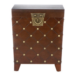 Holly & Martin - Caldwell Trunk End Table, Espresso - Sophisticated yet substantial, this ornate cube trunk is as functional as it is regal. The shiny golden spheres and diamond-shaped stitching fancy up any living space in a snap.