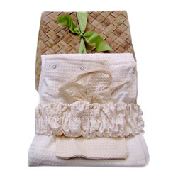"""Gilden Tree - Waffle Shower Wrap, Headband & Mitt Set (Full-figured Size: Women 18-3X), White - The ultimate home spa gift for the full-figured woman!  Help create a morning """"retreat"""" for your special someone, with our professional quality shower wrap, headband and bath mitt."""