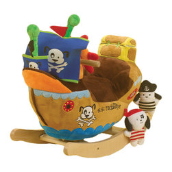 Rockabye - Rockabye Ahoy Doggie Pirate Ship Rocker - Little explorers will never forget rocking for hours through the lush jungles of their imagination. Elijah's big soft ears have crinkle in them his trunk has a squeaker luxurious materials throughout and soft multi-patterned blanket seat make for a comfortable ride. Don't be afraid of his little friend stomp the mouse following him through the jungle even though Elijah might be! this wonderful heirloom quality rocker now comes with an educational component. Located on the back of the head baby will find 4 shaped buttons that activate original songs that teach ABC's, 1-10, colors shapes and more. Sure to please baby as well as mom and dad.