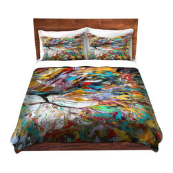 DiaNoche Designs - Duvet Cover Twill - Abstract Lion - Lightweight and super soft brushed twill Duvet Cover sizes Twin, Queen, King.  This duvet is designed to wash upon arrival for maximum softness.   Each duvet starts by looming the fabric and cutting to the size ordered.  The Image is printed and your Duvet Cover is meticulously sewn together with ties in each corner and a concealed zip closure.  All in the USA!!  Poly top with a Cotton Poly underside.  Dye Sublimation printing permanently adheres the ink to the material for long life and durability. Printed top, cream colored bottom, Machine Washable, Product may vary slightly from image.