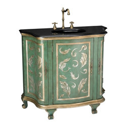 Sterling Industries - Sterling Industries Aquarelle Cabinet X-MS1101-88 - The dark colors of the stone countertop on this Sterling Industries Aquarelle Cabinet contrast the vibrant colors of the detailed cabinet. With scrolled feet and curvilinear styling, this cabinet is sure to inspire. Shades of gold and blue-green dance delightfully, with European influencing to tie it all together.