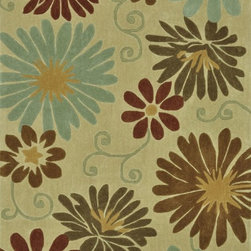 """Loloi - Country & Floral Grant 5'x7'6"""" Rectangle Neutral-Multi Area Rug - The Grant area rug Collection offers an affordable assortment of Country & Floral stylings. Grant features a blend of natural Neutral-Multi color. Handmade of 100% Polyester the Grant Collection is an intriguing compliment to any decor."""