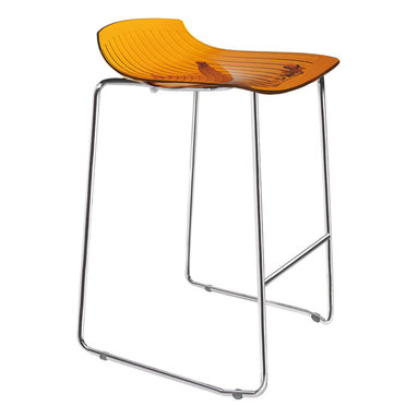 PAPATYA - PAPATYA X-TREME SLED COUNTER STOOL, Set of 2, Transparent Orange - Stackable stylish bar stool made in polycarbonate and steel tube sled frame. Exists in two types of colour versions. Expressive transparent and solid colours. Sled frame with 62 cm (24.4 inch) seating height makes this product very convenient for domestic use, especially kitchens. Anti UV stabilized. Priced as Set of 2.